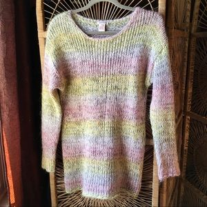 SUNDANCE Fuzzy Knitted Pastel Tunic Sweater Med.